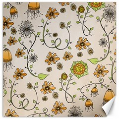 Yellow Whimsical Flowers  Canvas 16  X 16  (unframed)