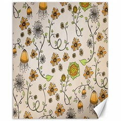 Yellow Whimsical Flowers  Canvas 16  x 20  (Unframed)