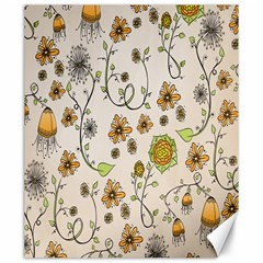 Yellow Whimsical Flowers  Canvas 20  X 24  (unframed)
