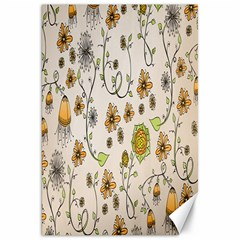 Yellow Whimsical Flowers  Canvas 20  x 30  (Unframed)
