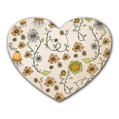 Yellow Whimsical Flowers  Mouse Pad (Heart)