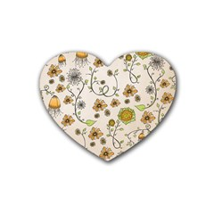 Yellow Whimsical Flowers  Drink Coasters 4 Pack (Heart)