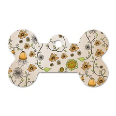 Yellow Whimsical Flowers  Dog Tag Bone (one Sided)