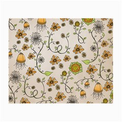 Yellow Whimsical Flowers  Glasses Cloth (Small, Two Sided)