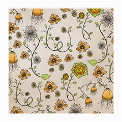 Yellow Whimsical Flowers  Glasses Cloth (medium, Two Sided)