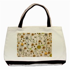 Yellow Whimsical Flowers  Twin-sided Black Tote Bag