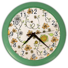 Yellow Whimsical Flowers  Wall Clock (Color)