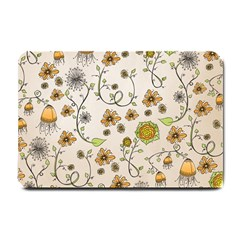 Yellow Whimsical Flowers  Small Door Mat