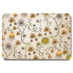 Yellow Whimsical Flowers  Large Door Mat
