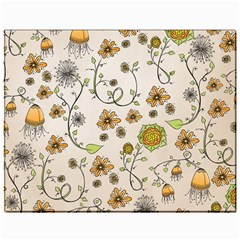 Yellow Whimsical Flowers  Canvas 11  x 14  (Unframed)