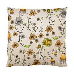 Yellow Whimsical Flowers  Cushion Case (Two Sided)