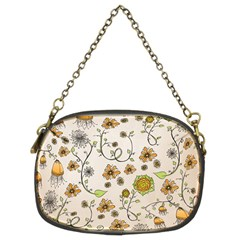 Yellow Whimsical Flowers  Chain Purse (two Sided)