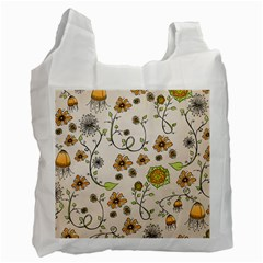 Yellow Whimsical Flowers  White Reusable Bag (One Side)