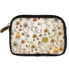 Yellow Whimsical Flowers  Digital Camera Leather Case