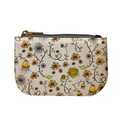 Yellow Whimsical Flowers  Coin Change Purse