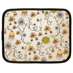 Yellow Whimsical Flowers  Netbook Sleeve (xl)