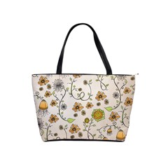 Yellow Whimsical Flowers  Large Shoulder Bag
