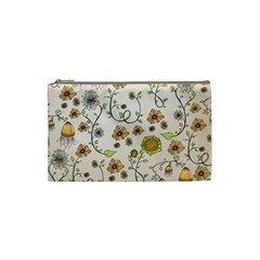 Yellow Whimsical Flowers  Cosmetic Bag (Small)