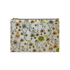 Yellow Whimsical Flowers  Cosmetic Bag (medium)