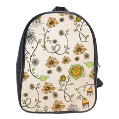 Yellow Whimsical Flowers  School Bag (Large)