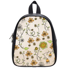 Yellow Whimsical Flowers  School Bag (small)