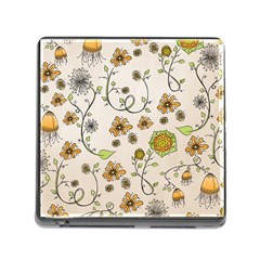 Yellow Whimsical Flowers  Memory Card Reader with Storage (Square)