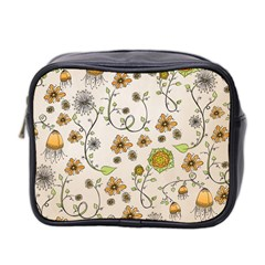 Yellow Whimsical Flowers  Mini Travel Toiletry Bag (two Sides)