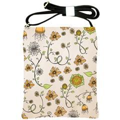 Yellow Whimsical Flowers  Shoulder Sling Bag