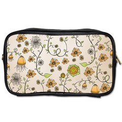 Yellow Whimsical Flowers  Travel Toiletry Bag (Two Sides)