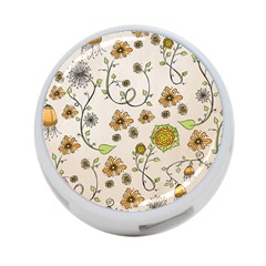 Yellow Whimsical Flowers  4 Port Usb Hub (two Sides)