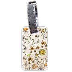 Yellow Whimsical Flowers  Luggage Tag (two Sides)