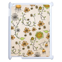 Yellow Whimsical Flowers  Apple iPad 2 Case (White)