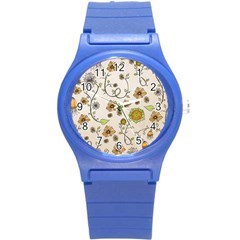 Yellow Whimsical Flowers  Plastic Sport Watch (Small)