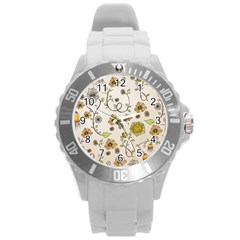 Yellow Whimsical Flowers  Plastic Sport Watch (Large)