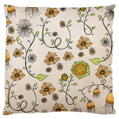 Yellow Whimsical Flowers  Large Cushion Case (Two Sided)