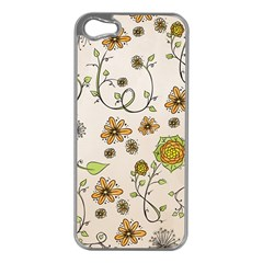 Yellow Whimsical Flowers  Apple iPhone 5 Case (Silver)