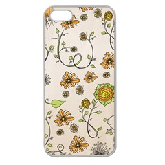 Yellow Whimsical Flowers  Apple Seamless Iphone 5 Case (clear)
