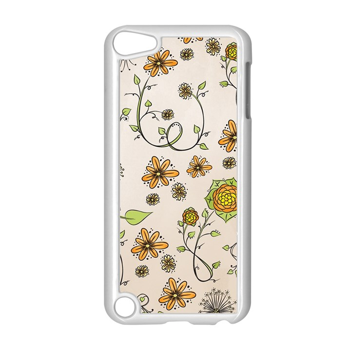 Yellow Whimsical Flowers  Apple iPod Touch 5 Case (White)