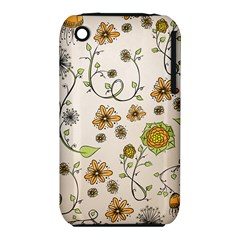 Yellow Whimsical Flowers  Apple iPhone 3G/3GS Hardshell Case (PC+Silicone)