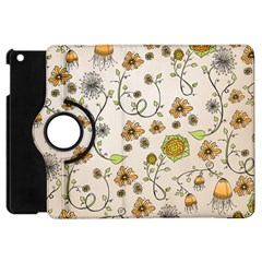 Yellow Whimsical Flowers  Apple iPad Mini Flip 360 Case