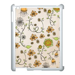 Yellow Whimsical Flowers  Apple Ipad 3/4 Case (white)