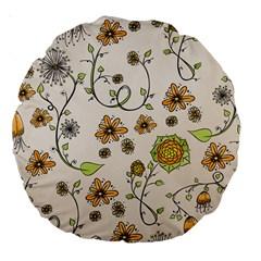 Yellow Whimsical Flowers  18  Premium Round Cushion