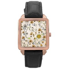 Yellow Whimsical Flowers  Rose Gold Leather Watch