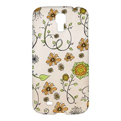 Yellow Whimsical Flowers  Samsung Galaxy S4 I9500/I9505 Hardshell Case