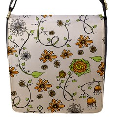 Yellow Whimsical Flowers  Flap Closure Messenger Bag (Small)
