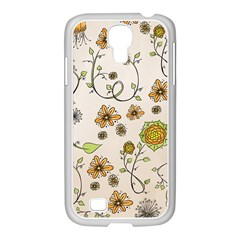 Yellow Whimsical Flowers  Samsung Galaxy S4 I9500/ I9505 Case (white)