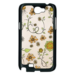 Yellow Whimsical Flowers  Samsung Galaxy Note 2 Case (Black)