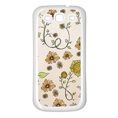Yellow Whimsical Flowers  Samsung Galaxy S3 Back Case (White)