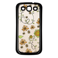 Yellow Whimsical Flowers  Samsung Galaxy S3 Back Case (black)