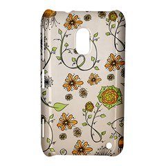 Yellow Whimsical Flowers  Nokia Lumia 620 Hardshell Case